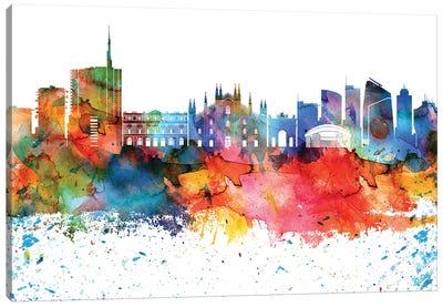 Milan Colorful Watercolor Skyline Canvas Art Print