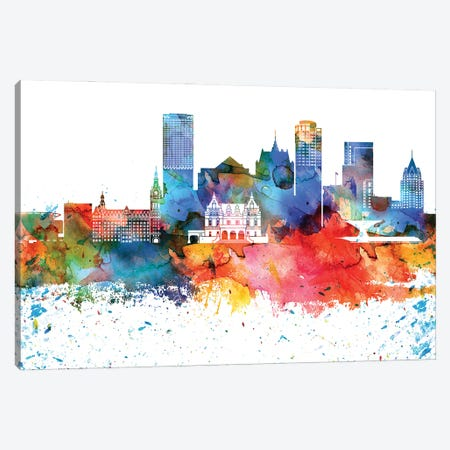 Milwaukee Colorful Watercolor Skyline Canvas Print #WDA1333} by WallDecorAddict Canvas Artwork