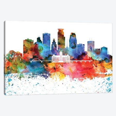 Minneapolis Colorful Watercolor Skyline Canvas Print #WDA1334} by WallDecorAddict Canvas Print