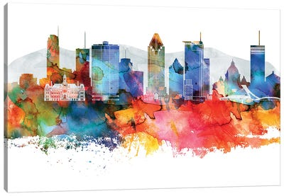Montreal Colorful Watercolor Skyline Canvas Art Print
