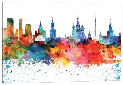 Moscow Colorful Watercolor Skyline Canvas Art Print