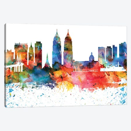 Mumbai Colorful Watercolor Skyline Canvas Print #WDA1337} by WallDecorAddict Canvas Print