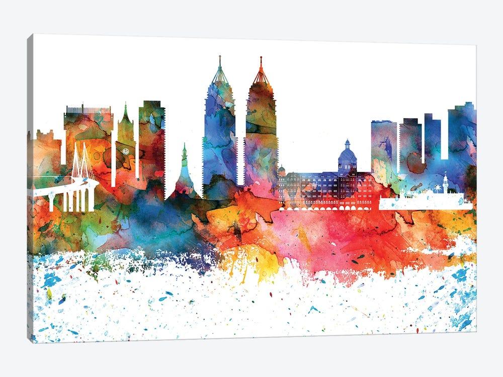 Mumbai Colorful Watercolor Skyline by WallDecorAddict 1-piece Canvas Artwork