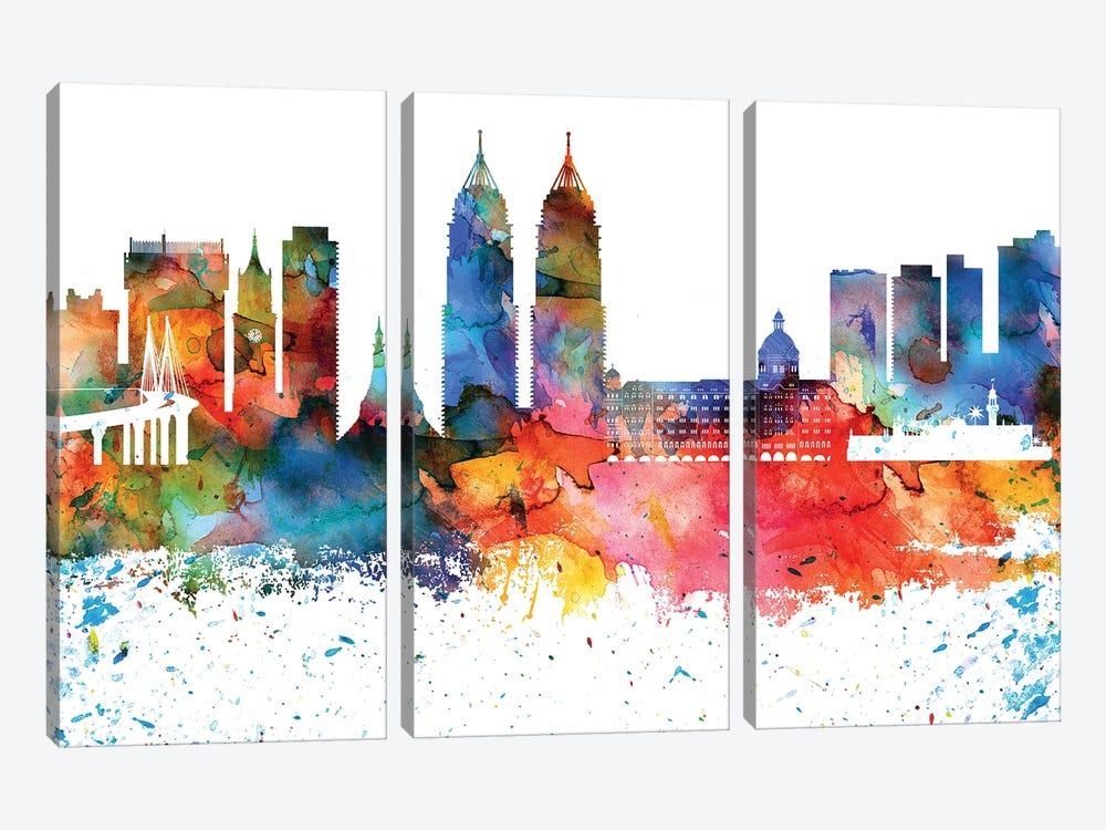 Mumbai Colorful Watercolor Skyline by WallDecorAddict 3-piece Canvas Wall Art