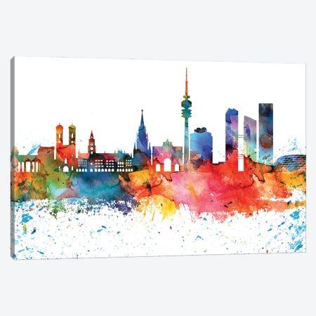Munich Colorful Watercolor Skyline Canvas Print #WDA1338} by WallDecorAddict Canvas Art
