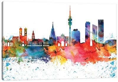 Munich Colorful Watercolor Skyline Canvas Art Print