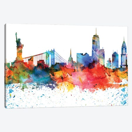 New York Colorful Watercolor Skyline Canvas Print #WDA1339} by WallDecorAddict Canvas Art