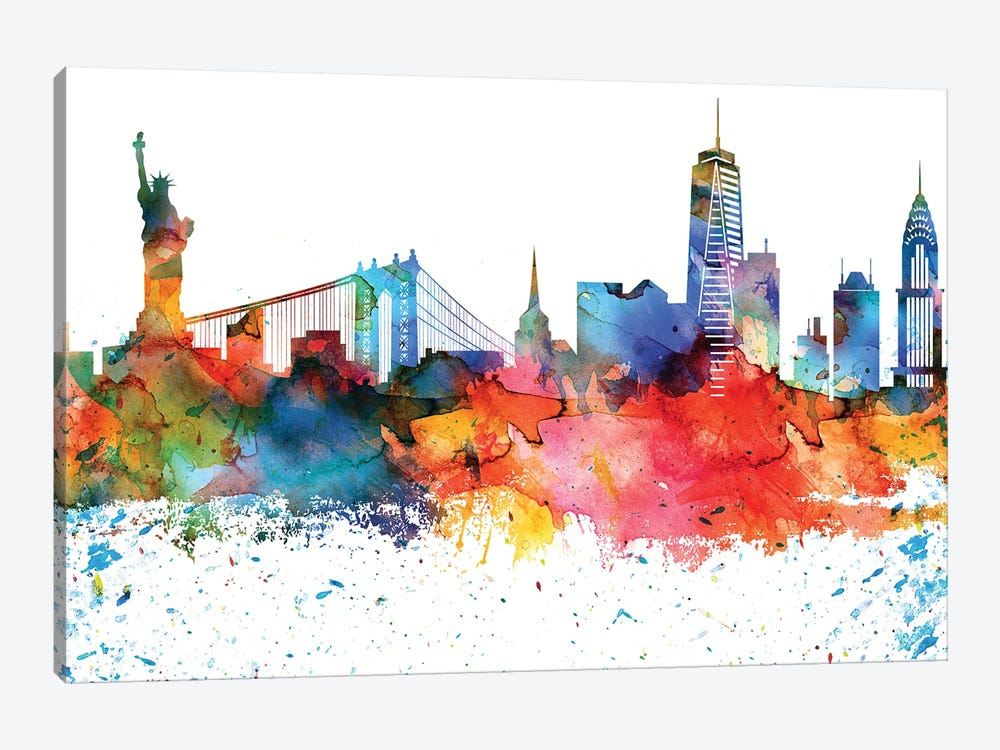 New York Colorful Watercolor Skyline by WallDecorAddict 1-piece Canvas Artwork