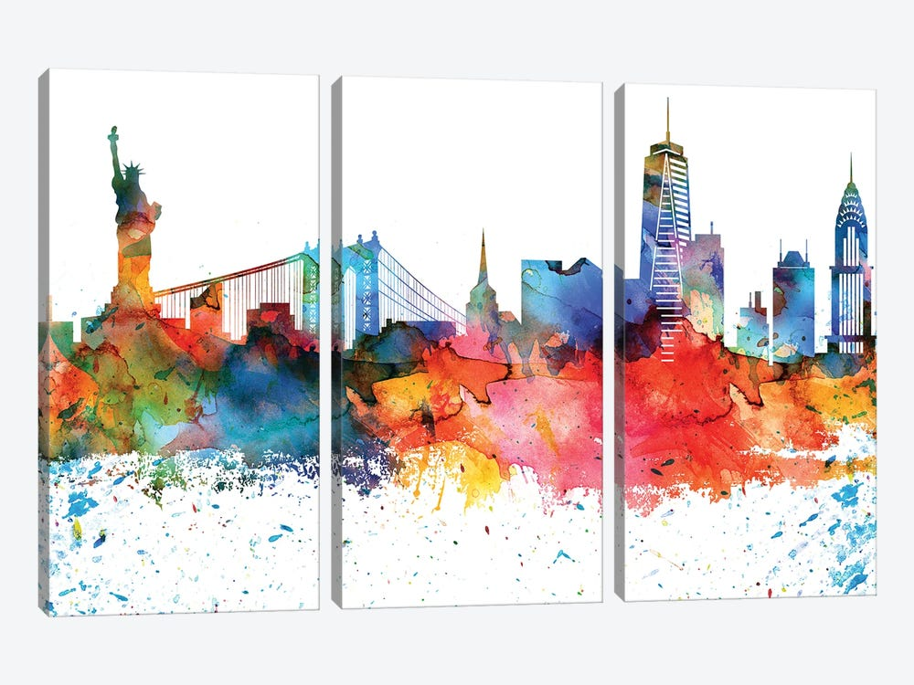 New York Colorful Watercolor Skyline by WallDecorAddict 3-piece Canvas Wall Art