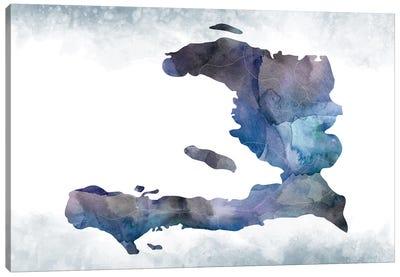 Haiti Bluish Map Canvas Art Print