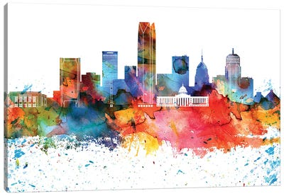 Oklahoma Colorful Watercolor Skyline Canvas Art Print