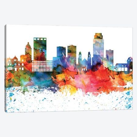 Omaha Colorful Watercolor Skyline Canvas Print #WDA1341} by WallDecorAddict Art Print