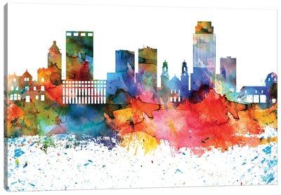 Omaha Colorful Watercolor Skyline Canvas Art Print