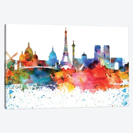 Paris Colorful Watercolor Skyline Canvas Print #WDA1346} by WallDecorAddict Canvas Artwork