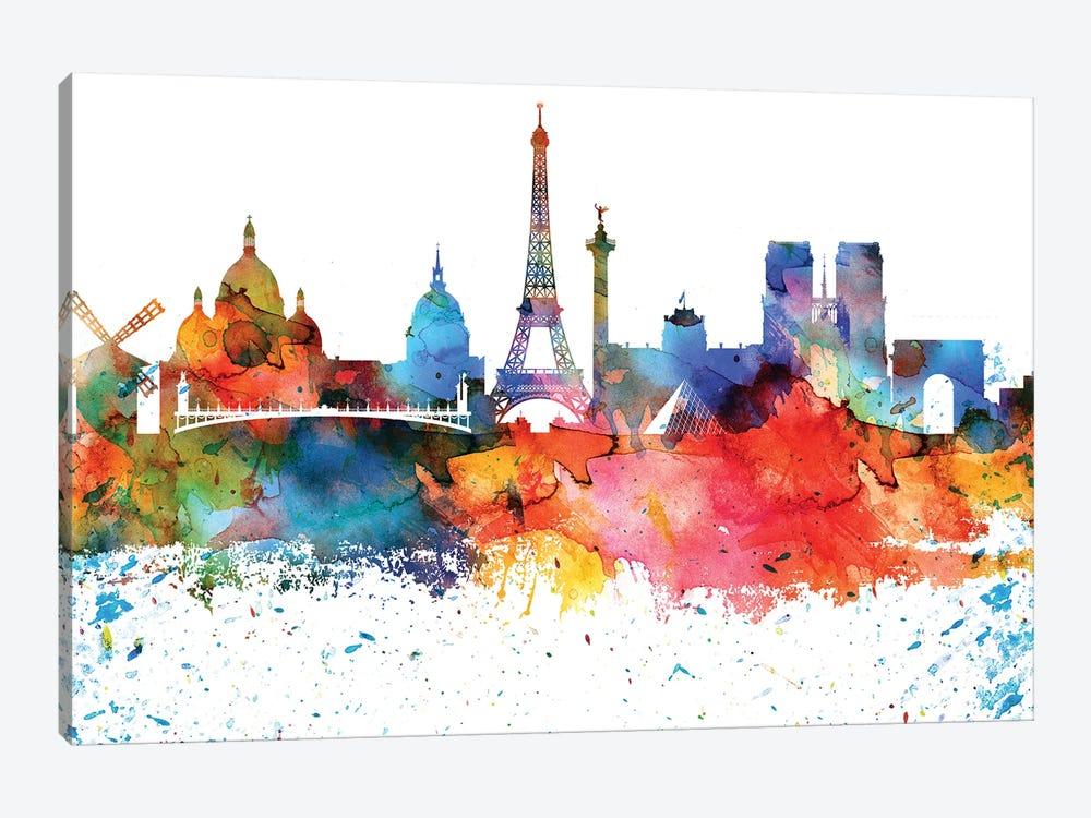 Paris Colorful Watercolor Skyline by WallDecorAddict 1-piece Canvas Artwork