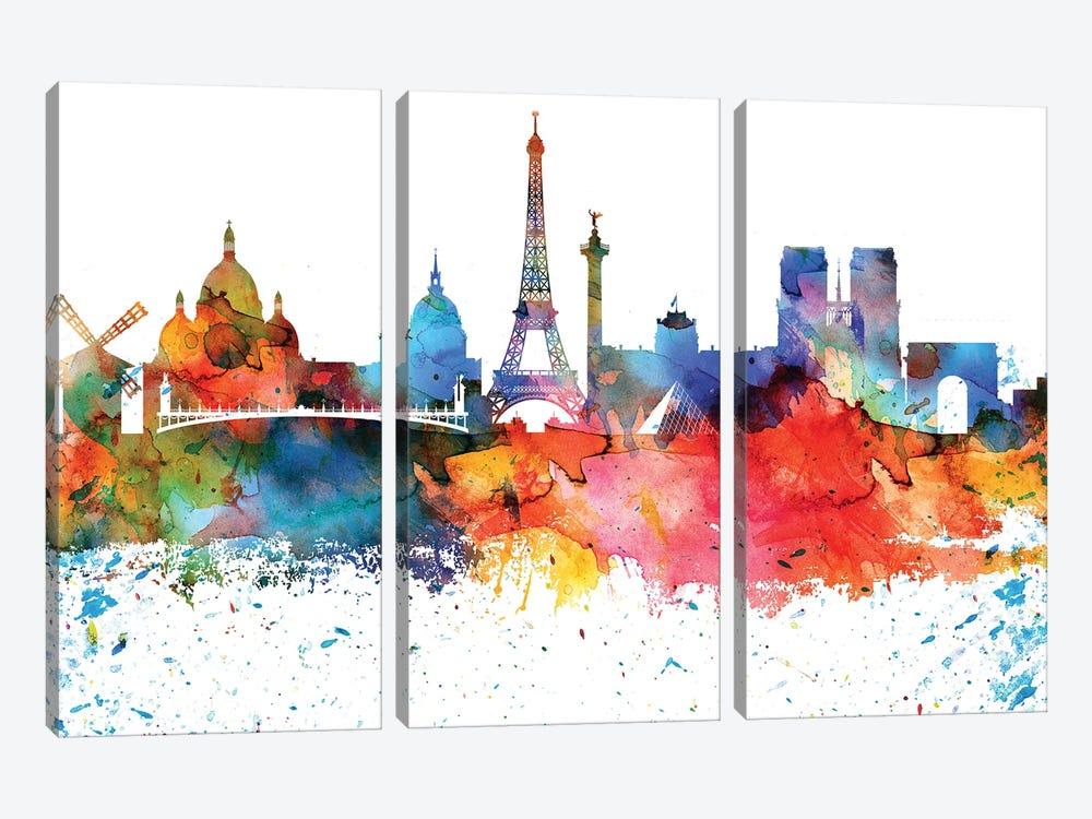 Paris Colorful Watercolor Skyline by WallDecorAddict 3-piece Canvas Wall Art