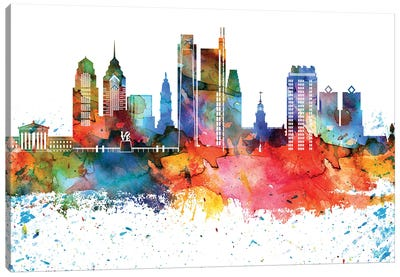 Philadelphia Colorful Watercolor Skyline Canvas Art Print