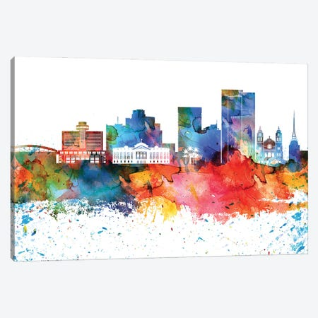 Phoenix Colorful Watercolor Skyline Canvas Print #WDA1349} by WallDecorAddict Canvas Print