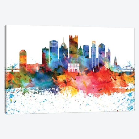 Pittsburgh Colorful Watercolor Skyline Canvas Print #WDA1350} by WallDecorAddict Canvas Wall Art