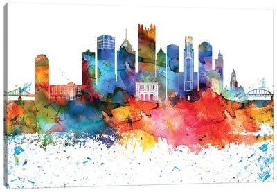 Pittsburgh Colorful Watercolor Skyline Canvas Art Print