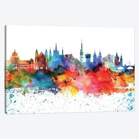 Prague Colorful Watercolor Skyline Canvas Print #WDA1352} by WallDecorAddict Canvas Artwork