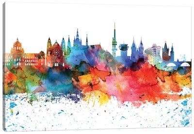 Prague Colorful Watercolor Skyline Canvas Art Print
