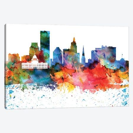 Providence Colorful Watercolor Skyline Canvas Print #WDA1353} by WallDecorAddict Canvas Wall Art