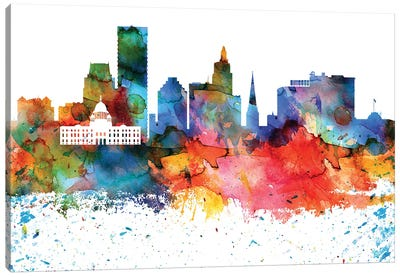Providence Colorful Watercolor Skyline Canvas Art Print