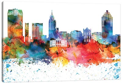 Raleigh Colorful Watercolor Skyline Canvas Art Print