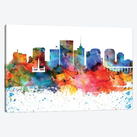 Richmond Colorful Watercolor Skyline Canvas Print #WDA1357} by WallDecorAddict Canvas Art Print