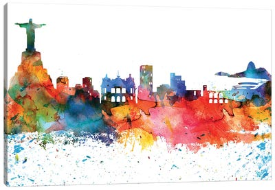 Rio Colorful Watercolor Skyline Canvas Art Print
