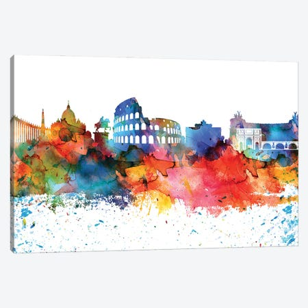 Rome Colorful Watercolor Skyline Canvas Print #WDA1359} by WallDecorAddict Canvas Wall Art