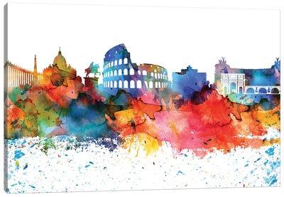 Rome Colorful Watercolor Skyline Canvas Art Print