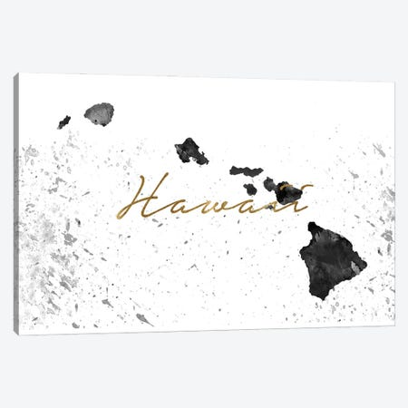 Hawaii Black And White Gold Canvas Print #WDA135} by WallDecorAddict Canvas Wall Art