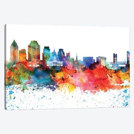 Sacramento Colorful Watercolor Skyline Canvas Print #WDA1361} by WallDecorAddict Canvas Print