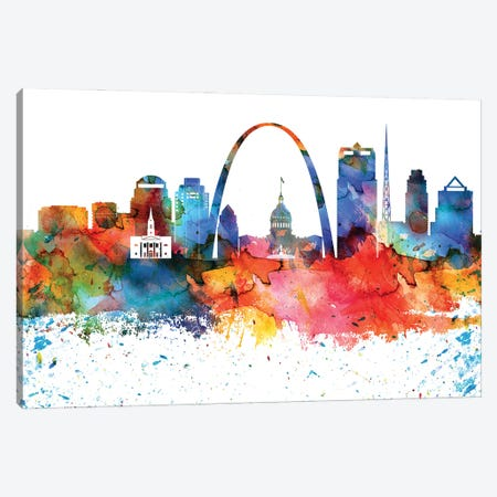 Saint Louis Colorful Watercolor Skyline Canvas Print #WDA1362} by WallDecorAddict Art Print