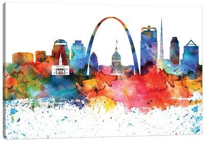 Saint Louis Colorful Watercolor Skyline Canvas Art Print