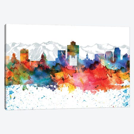Salt Lake Colorful Watercolor Skyline Canvas Print #WDA1363} by WallDecorAddict Canvas Print