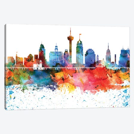 San Antonio Colorful Watercolor Skyline Canvas Print #WDA1364} by WallDecorAddict Canvas Wall Art