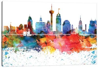 San Antonio Colorful Watercolor Skyline Canvas Art Print