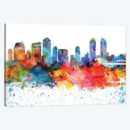 San Diego Colorful Watercolor Skyline Canvas Print #WDA1365} by WallDecorAddict Canvas Wall Art