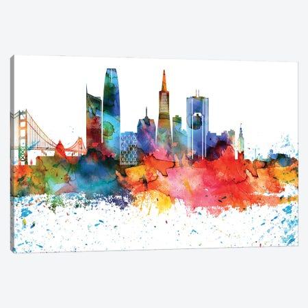 San Francisco Colorful Watercolor Skyline Canvas Print #WDA1366} by WallDecorAddict Canvas Wall Art