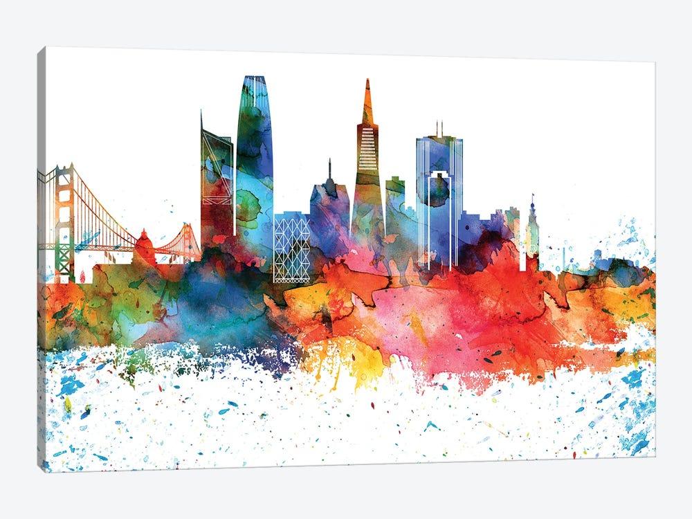 San Francisco Colorful Watercolor Skyline by WallDecorAddict 1-piece Canvas Art