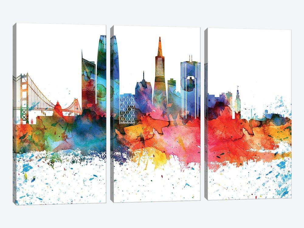 San Francisco Colorful Watercolor Skyline by WallDecorAddict 3-piece Canvas Wall Art