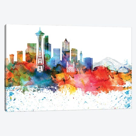 Seattle Colorful Watercolor Skyline Canvas Print #WDA1368} by WallDecorAddict Art Print