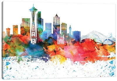 Seattle Colorful Watercolor Skyline Canvas Art Print