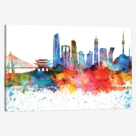 Seoul Colorful Watercolor Skyline Canvas Print #WDA1369} by WallDecorAddict Art Print