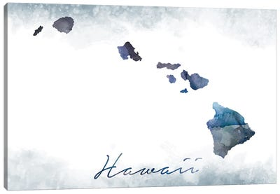 Hawaii State Bluish Canvas Art Print
