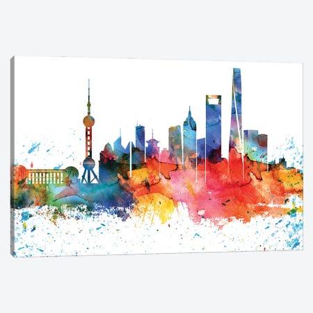 Shanghai Colorful Watercolor Skyline Canvas Print #WDA1370} by WallDecorAddict Canvas Art