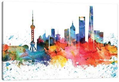 Shanghai Colorful Watercolor Skyline Canvas Art Print